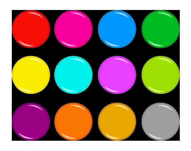 正円のカラフルなアイコン、ボタンのフリー素材
