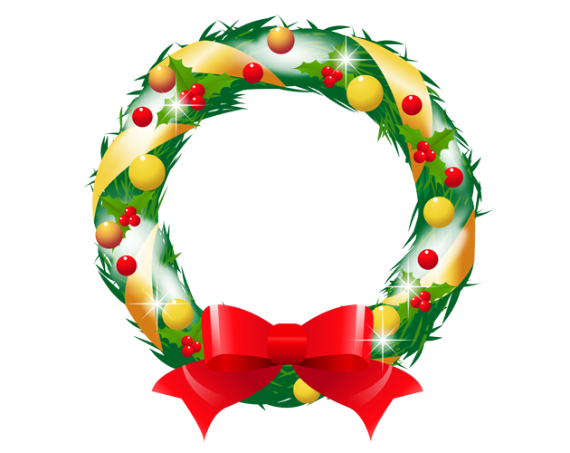 きれいなクリスマスリースのイラスト(フリー素材)