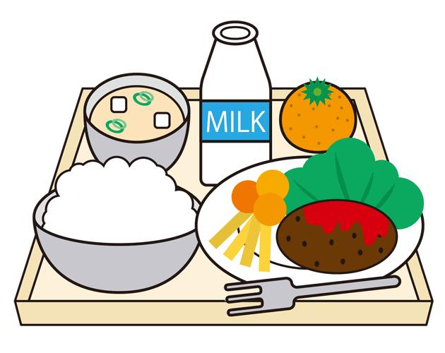 学校生活のお楽しみ。給食のイラスト(フリー素材)