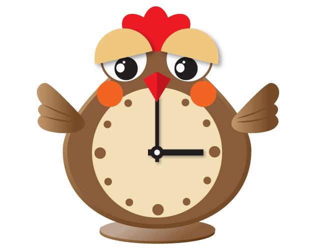 かわいいニワトリの目覚まし時計(フリー素材)