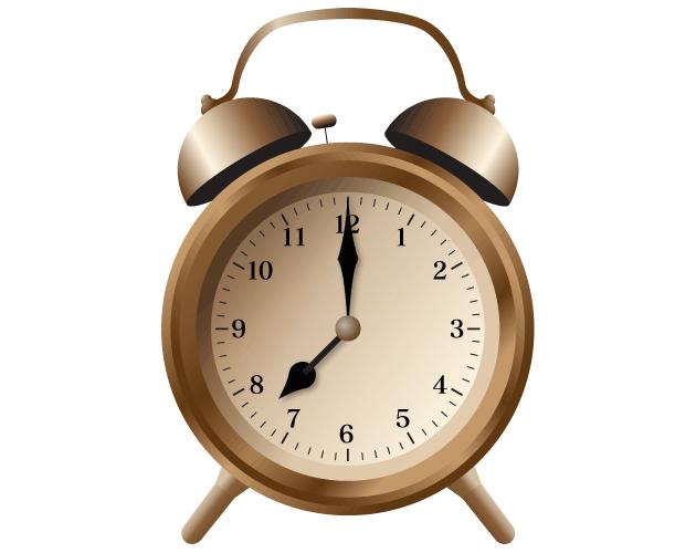 クラシックな目覚まし時計のイラスト(フリー素材)