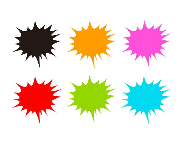ランダムな爆発の吹き出し(塗りつぶし)、フリー素材