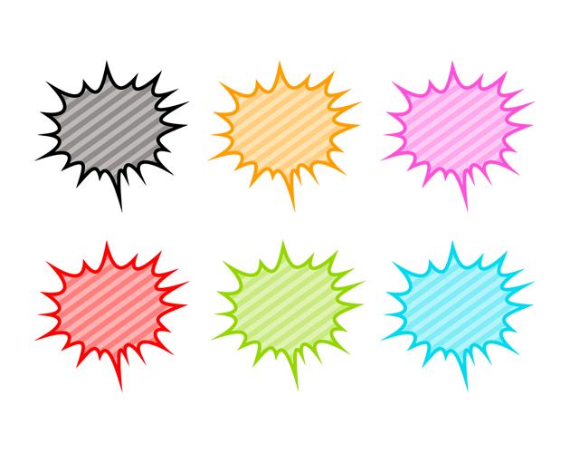 ランダムな爆発の吹き出し(パターン模様)、フリー素材