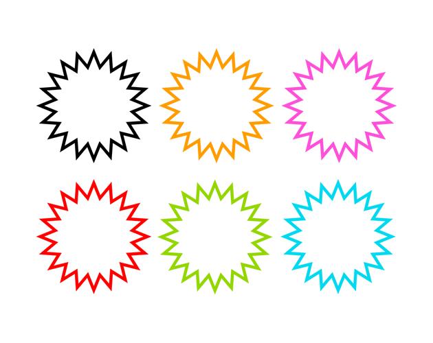 シンプルな爆発の吹き出し(塗りなし)、フリー素材