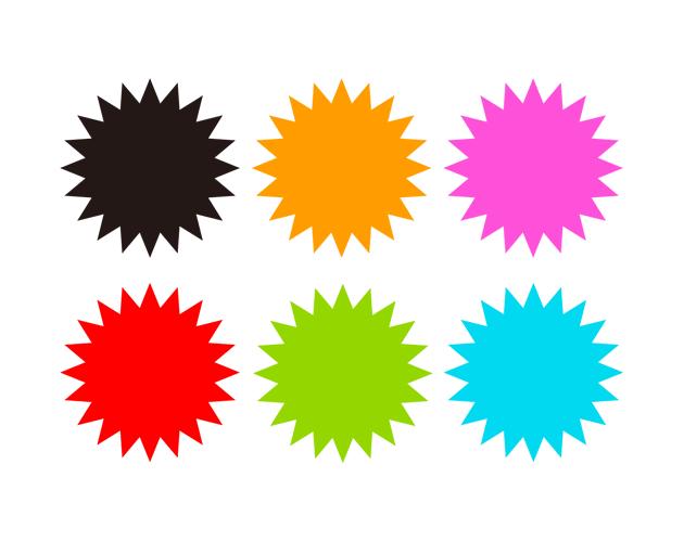 シンプルな爆発の吹き出し(塗りつぶし)、フリー素材