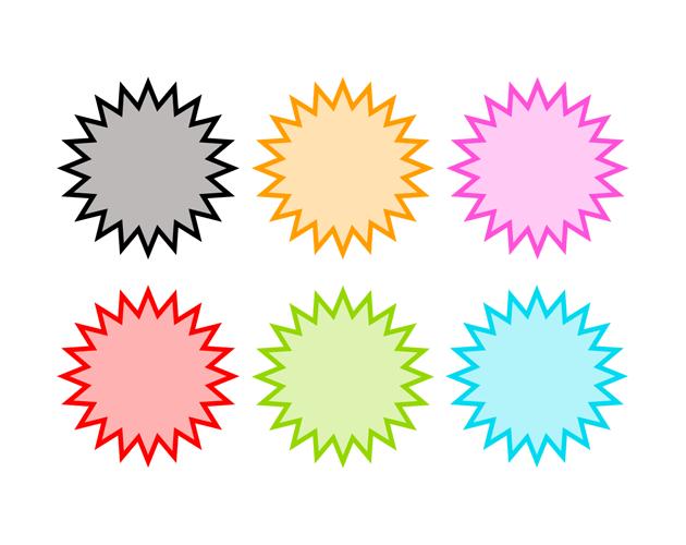 シンプルな爆発の吹き出し(うすい塗り)、フリー素材