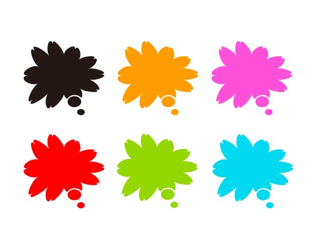 花びらの吹き出し(塗りつぶし)、フリー素材