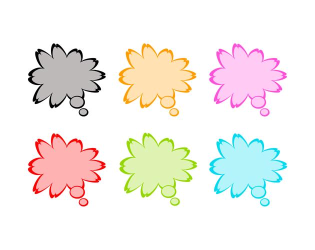花びらの吹き出し(うすい塗り)、フリー素材