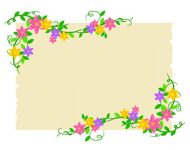 花と草のつるを這わせたおしゃれなフレーム枠、フリー素材
