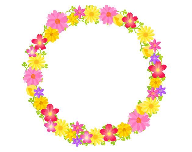 きれいな草花のリースフレーム枠、フリー素材