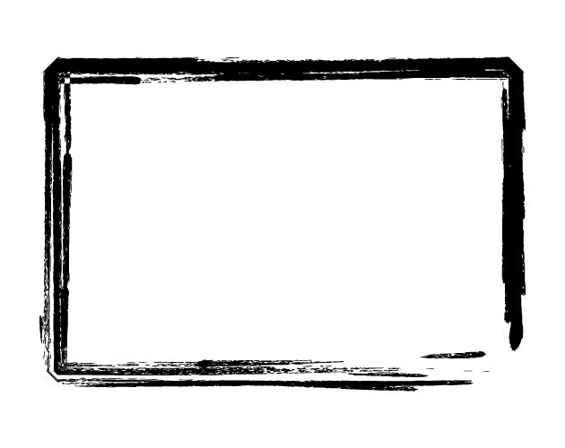筆のかすれをデザインしたフレーム枠、フリー素材