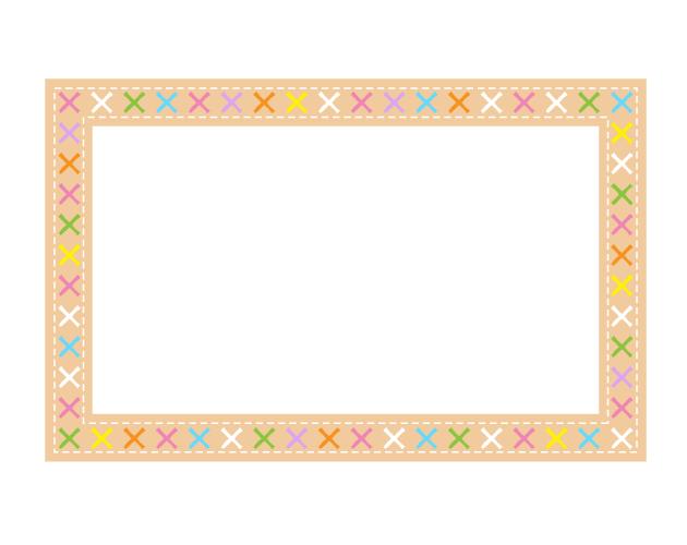 かわいい手縫い布のフレーム枠、フリー素材