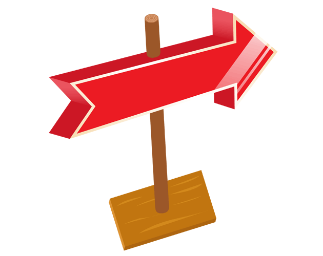 ポップな道案内風の矢印、フリー素材