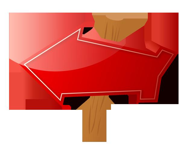 道しるべ風の立体的な矢印、フリー素材
