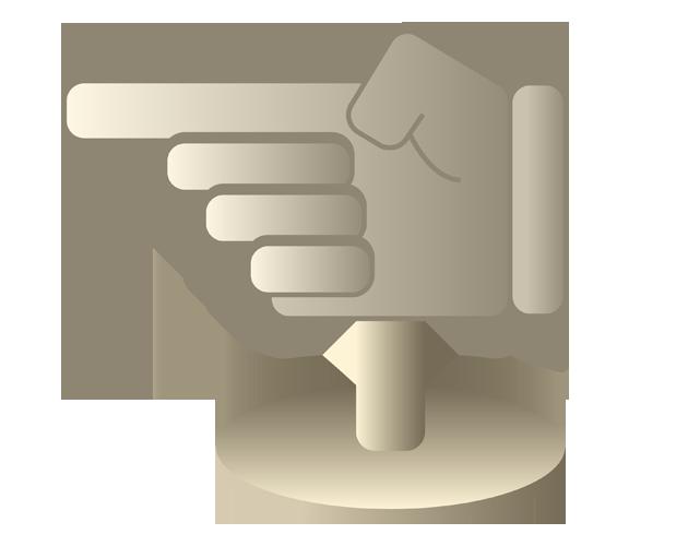人間の手、指さし矢印イラスト
